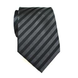 H. Luzzario & Co Men's Silk Black Striped Tie - Thumbnail 0