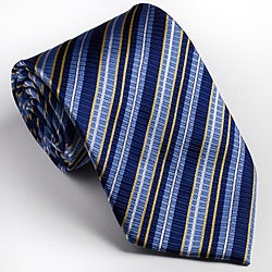 Platinum Ties Men's Striped 'Blue Glow' Tie
