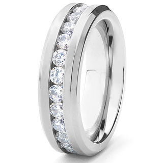 Men's Titanium Cubic Zirconia Eternity Band (6 mm)