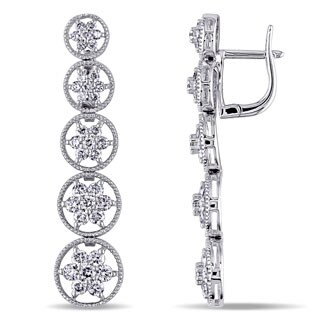 Miadora 18k White Gold 2 1/4ct TDW Diamond Earrings