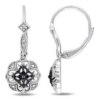 Miadora Sterling Silver Black Diamond Accent Leverback Earrings