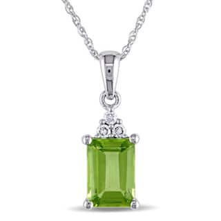 Miadora 10k White Gold Diamond and Peridot Necklace|https://ak1.ostkcdn.com/images/products/P13369804jt.jpg?impolicy=medium