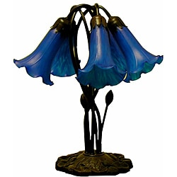 Tiffany-style 5-way Bronze Lily Blue Table Lamp