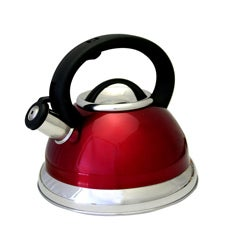 Alpine Red Stainless Steel 3-quart Whistling Tea Kettle
