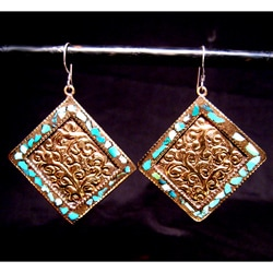 Brass and Sterling Silver Turquoise Diamond Earrings (Nepal)