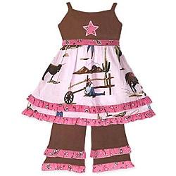 Ann Loren Girl's Cowgirl Dress and Pant Set