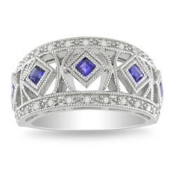 Miadora Sterling Silver Created Sapphire and 1/4ct TDW Diamond Ring (G-H, I3)