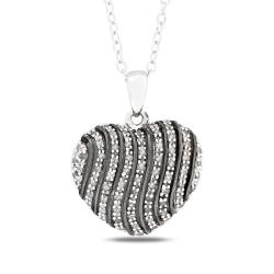 Miadora Sterling Silver 1/4ct TDW Diamond Heart Necklace