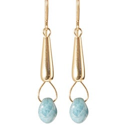 14k Gold Fill 'Cyan Luster drops of Mist' Glass Bead Dangle Earrings