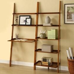 Mahogany 2-piece Leaning Ladder Shelf