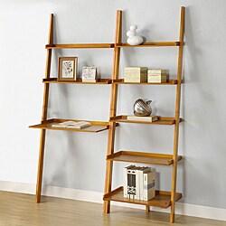 Oak 2-piece Leaning Ladder Shelf