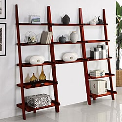 Cherry Leaning Ladder 3-piece Shelf