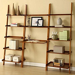 Mahogany Leaning Ladder 3-piece Shelf