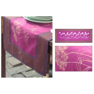Handmade Cotton 'Purple Dandelions' Table Runner (Thailand)