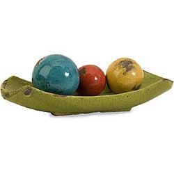 Ceramic Argento 4-piece Decorative Balls with Tray Set