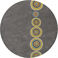 Hand-tufted Contemporary Multi Colored Circles Geometric Dazed New Zealand Wool Area Rug - 3'