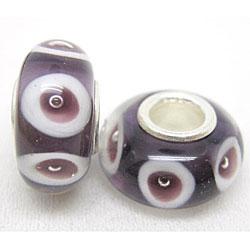 Murano Inspired Glass Plum/ White Bubble Charm Beads (Set of 2)