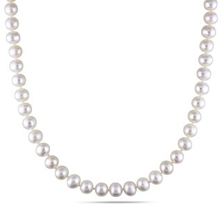 Miadora White Cultured Freshwater Pearl Endless 36-inch Necklace (7-7.5 mm)
