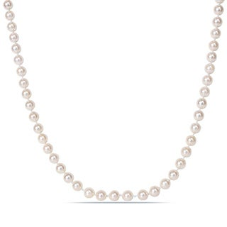 Miadora White Cultured Akoya Pearl 30-inch Necklace (6-6.5 mm)