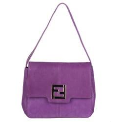 Fendi Purple Leather Shoulder Bag