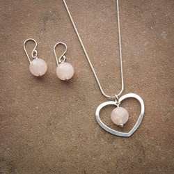 Classic Sterling Silver Heart Elegance Rose Quartz Jewelry Set