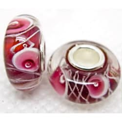 Murano Inspired Glass Purple/ White/ Pink Flower Charm Beads (Set of 2)