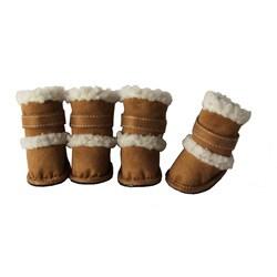 Duggz Large Cognac Shearling Pet Boots w/ Sherpa Trim (Set of 4)