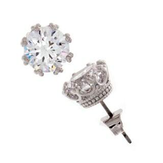 NEXTE Jewelry Silvertone Large Crown-set Cubic Zirconia Stud Earrings