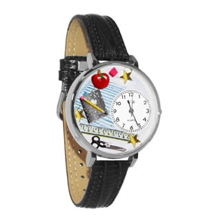 Whimsical Women's Teacher Theme Black Skin Leather Watch