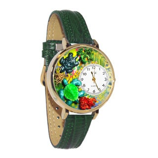 Whimsical Women's Turtles Theme Hunter Green Leather Watch