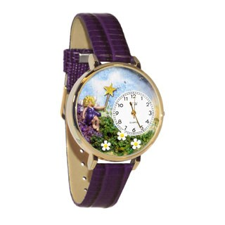 Whimsical Women's Goldtone Fairy Theme Purple Leather Watch