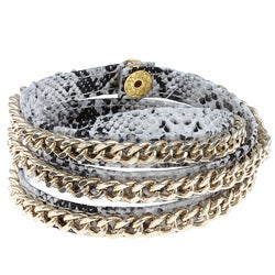 Cara Grey Chain and Leather Wrap Bracelet - Thumbnail 0