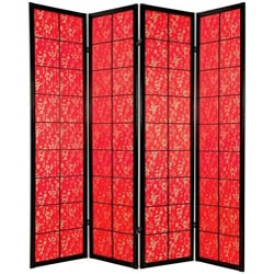 Wood 6-foot 4-panel Feng Shui Red Fabric Shoji Screen (China) - Thumbnail 0