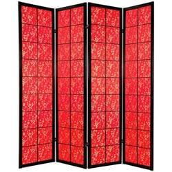Wood 6-foot 4-panel Feng Shui Red Fabric Shoji Screen (China)