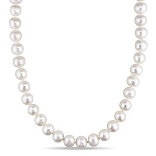 Miadora Sterling Silver Cultured Freshwater Pearl 36-inch Necklace (10.5-11 MM)