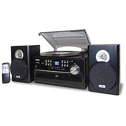 JENSEN HOME STEREO CD//CASSETTE//RECORD PLAYER TURNTABLE SYSTEM AMFM RADIO NEW