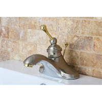 Vintage Satin Nickel/ Polished Brass 4-inch Centerset Metal Bathroom Faucet