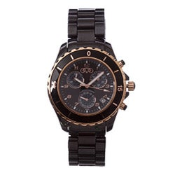 Ceramic Couture Men's Black and Rose Gold Chronograph Ceramic Bracelet Watch