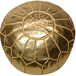 Handmade Leather Metallic Gold Pouf Ottoman (Morocco)