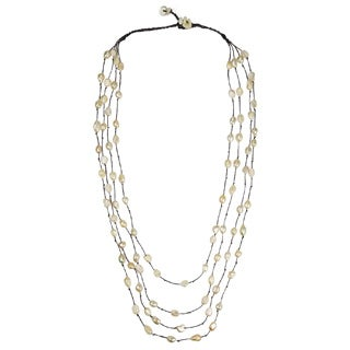 Handmade Cotton Rope Layered White FW Pearl/ MOP Necklace (Thailand)