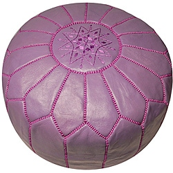 Handmade Leather Lavender Pouf Ottoman (Morocco)