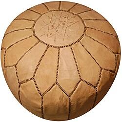 Handmade Leather Natural Pouf Ottoman (Morocco) - Thumbnail 0