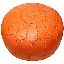 Handmade Leather Orange Pouf Ottoman (Morocco) - Thumbnail 0