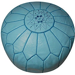 Handmade Leather Sky Blue Pouf Ottoman (Morocco) - Thumbnail 0