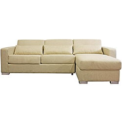Olcott Cream Twill Modern Sleeper Sofa Sectional with Storage Chaise Free Shipping Today