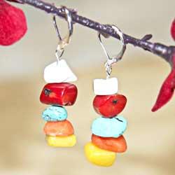 Susen Foster Silverplated Tribal Rainbow Multi-gemstone Earrings