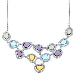La Preciosa Sterling Silver Multi-Colored Cubic Zirconia Bib Necklace