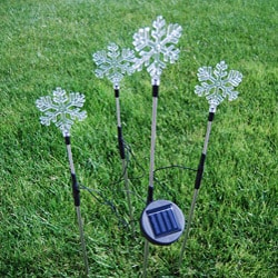 Solar Powered Color Changing Garden Stake Snowflakes (Set of 4)