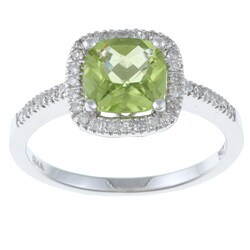10k White Gold Peridot and 1/5ct TDW Diamond Ring (H-I, I1-I2)