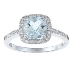 10k White Gold Aquamarine and 1/6ct TDW Diamond Ring (H-I, I1-I2)
